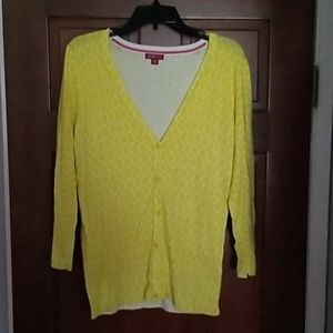 Merona V Neck Yellow White Button Cardigan Size L